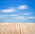 Balcony wood with blue sky background Stock Photo