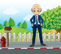 A bald business icon standing at the road near the wooden mailbo illustration of mailbox Stock Photos