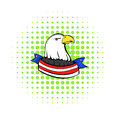 Bald eagle with USA flag icon, comics style Royalty Free Stock Photo