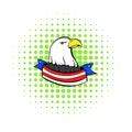 Bald eagle with USA flag icon, comics style Royalty Free Stock Photo