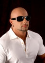 Bald guy wearing fashion sunglasses Royalty Free Stock Photo