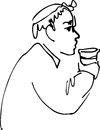 Bald man drinking from a cup black and white sketch vector Stock Images