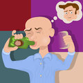 Bald man drinking a cure vector illustration of bold miracle hair grown or lotion against baldness Stock Photo