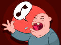 Bald man singing a song cartoon illustration of with his mouth open displaying two teeth with music note in speech bubble as Royalty Free Stock Photography