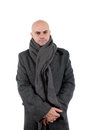 Bald man in tweed coat and scarf Stock Photos