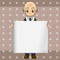 A bald oldman holding an empty signage illustration of Royalty Free Stock Image