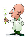 Bald scientist illustration of a cartoon doing chemistry experiment on isolated white background Stock Photos