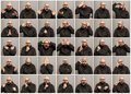 Bald young man with glasses, a set of different emotions