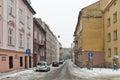 Baldachowka winter street in Rzeszow, Poland.