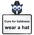 Baldness cure comical for male sign isolated on white background Stock Photos