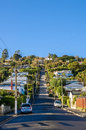Baldwin Street which is located in Dunedin,New Zealand is the world steepest street in the world. Royalty Free Stock Photo