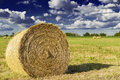 Bale of hay in farmland Stock Photos