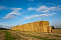 Bale of straw in automn intensive colors Royalty Free Stock Image