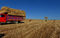 Bale of straw bales hay being transported Royalty Free Stock Photography