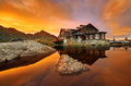 Balea Lac Chalet At Sunset