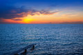 Balearic Formentera island sunset in Mediterranean Royalty Free Stock Images