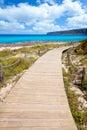 Balearic Formentera island wood beach way Royalty Free Stock Photo