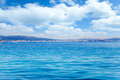 Balearic Ibiza island general view from open sea Royalty Free Stock Photo