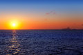 Balearic sunset from La Savina in Formentera Royalty Free Stock Image