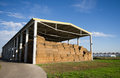 Bales storage modern of straw Stock Photos