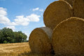 Bales of straw on the field after the harvest Royalty Free Stock Images