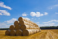 Bales of straw on the field after the harvest Royalty Free Stock Photography