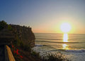 Bali holy Uluwatu Temple coastline ocean sunset Royalty Free Stock Photo