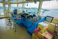 BALI, INDONESIA - APRIL 05, 2017: Ferry boat pilot command cabin with view on the sea