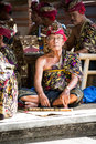 BALI, INDONESIA, DECEMBER, 24,2014: senior musician sitting on f Royalty Free Stock Photo