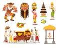 Bali traditional cultural concepts vector illustration set