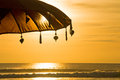 Bali umbrella on the sunset Stock Images