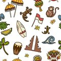 Bali icons vector seamless pattern.