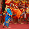 Balinese dancer girls in traditional Sarong costume dancing Legong dance Royalty Free Stock Photo
