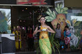 Balinese dances traditional are performed at a shopping mall in the city of solo central java indonesia Stock Image