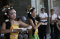 Balinese dances traditional are performed at a shopping mall in the city of solo central java indonesia Stock Images