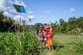 Balinese kids with kites Royalty Free Stock Photo