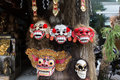 Balinese masks culture for sale in bali island indonesia Royalty Free Stock Image