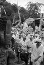Balinese religion festival in tanah lot bali Royalty Free Stock Photo