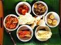 Balinese taster dishes assorted cuisine a photograph showing an assortment of many variety of bali cooking placed in small Stock Photography