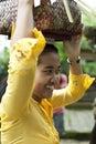 Beautiful Young Balinese Woman shows Bali Greeting
