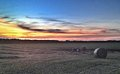 Baling hay at sunset tractor and round baler round bales of in a field Royalty Free Stock Photos