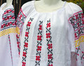 Balkan embroidered national traditional costume clothes detail Royalty Free Stock Photo
