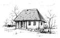 Balkan house hand drawn sketch of a traditional Royalty Free Stock Image