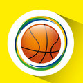 Ball basketball  olympic games brazilian flag colors Royalty Free Stock Photo