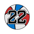 Ball of basketball symbol with number 22