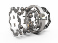 Ball bearing detail part render on white and clipping path Royalty Free Stock Image