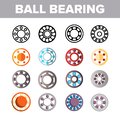 Ball Bearing Mechanism Vector Color Icons Set