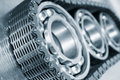 Ball bearings, gears and chains Royalty Free Stock Photos