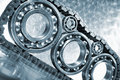 Ball-bearings, gears in close-ups Royalty Free Stock Images