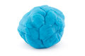 Ball of blue play dough on white